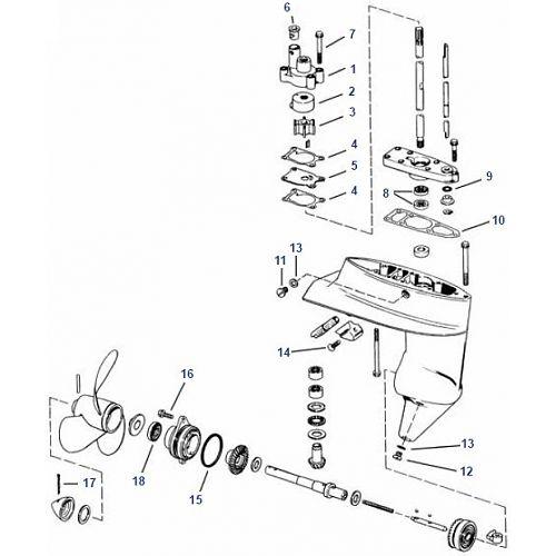4 t/m 8 pk Evinrude (1980+) Staartstuk Onderdelen