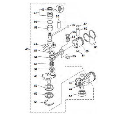 25 & 30 pk (2-takt) Krukas Onderdelen (2 cilinder)
