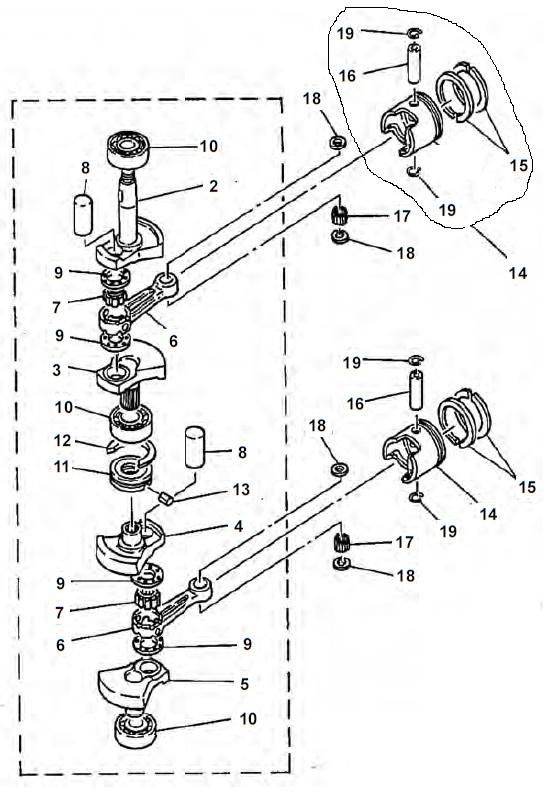 E8D & E8DMH (2-takt) Krukas Onderdelen