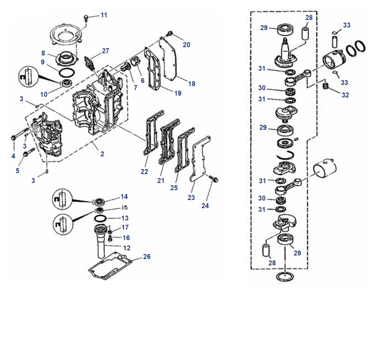 6C/D & 8C Krukas Blok Onderdelen Mercury