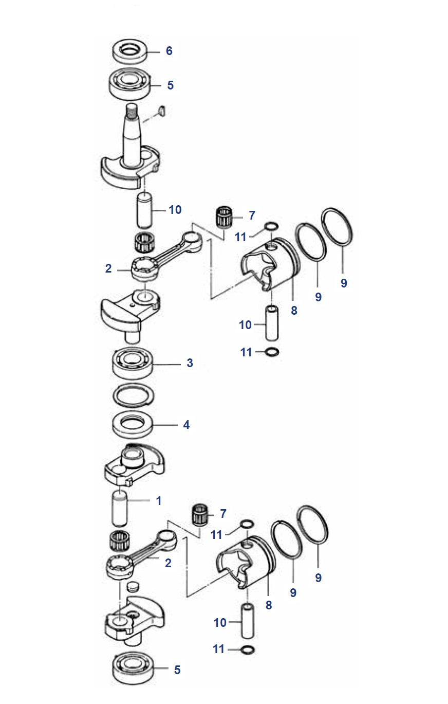 6, 8 & 9.8 pk (2 cil Inter) krukas onderdelen Mercury