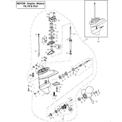 F6, F8 & F9.8 Parsun Staartstuk Onderdelen