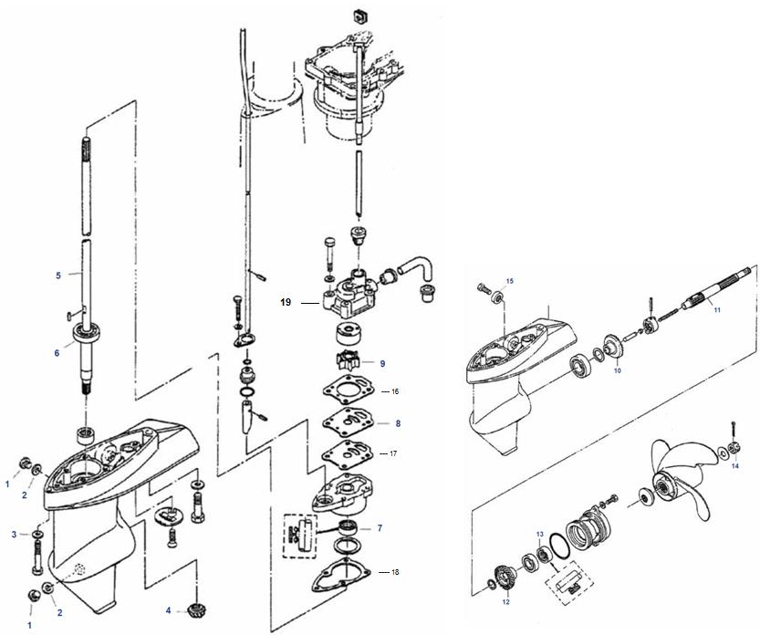 4 & 5 pk Tohatsu (2-Takt) Staartstuk Onderdelen