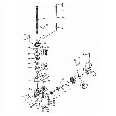 2 pk (2-takt) B MSH & CMH - Staartstuk Onderdelen