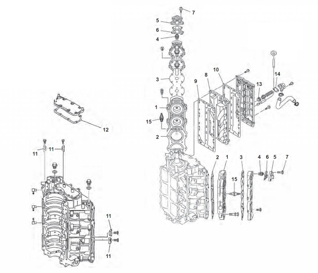 150, 175, 200 & 225 pk V6 (2-takt) Blok Onderdelen