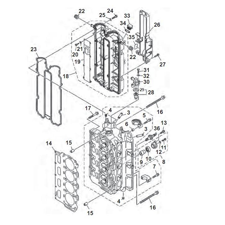 F80 F100 & F115 (4-takt) Cilinder Onderdelen