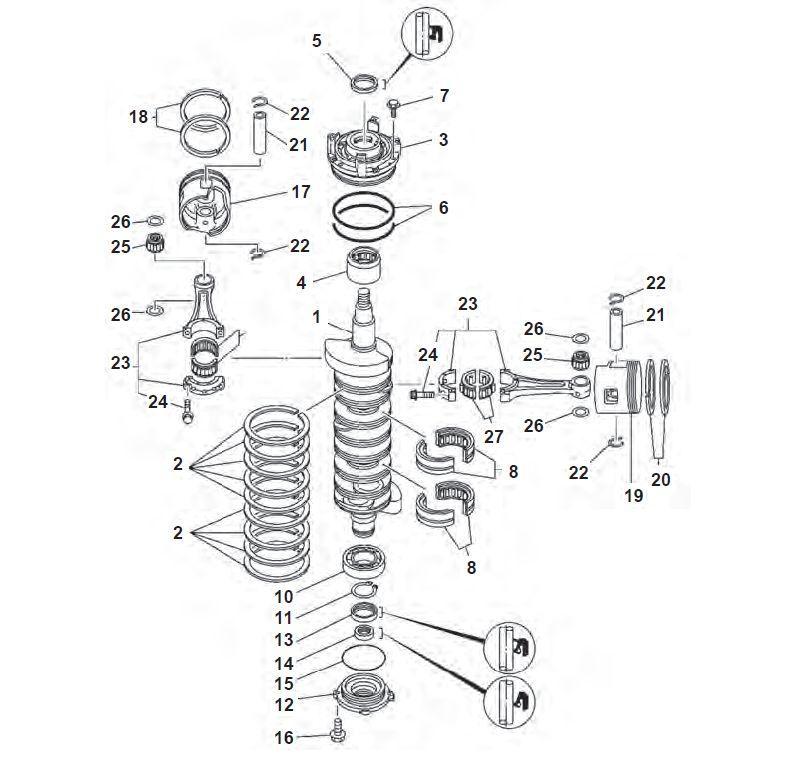150, 175, 200 & 225 pk V6 (2-takt) Krukas Onderdelen
